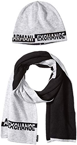 Armani Exchange Herren Knitwear Mütze, Schal & Handschuh-Set, Grau (Alloy Htr Bc06 3901), One Size (Herstellergröße: TU)