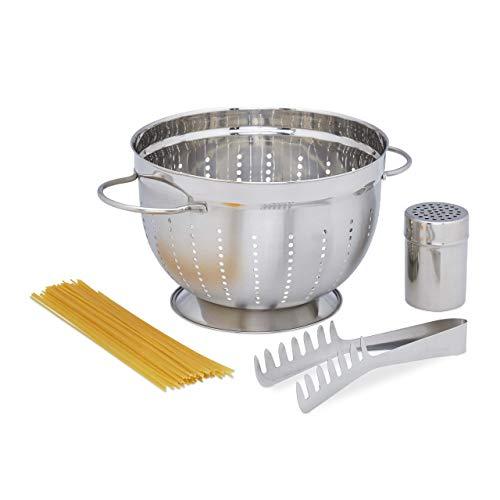 Relaxdays Standard, Nudelzange, Parmesanstreuer, Edelstahl, silber Pastaset 3-teilig, Kochzubehör für Pasta, Nudelsieb mit Griff