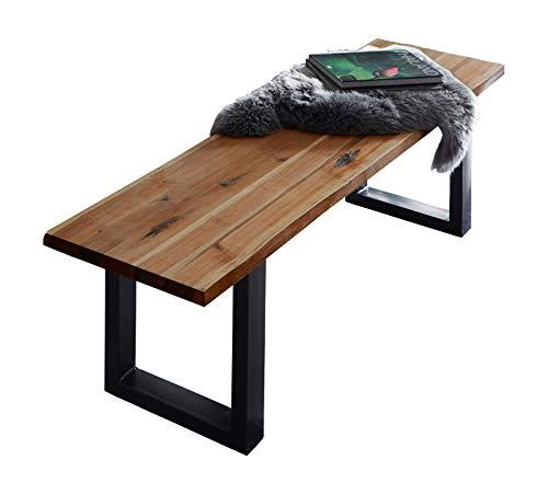 SAM Sitzbank 180x42 cm Quintus, Akazien-Holz naturfarben, schwarz lackierte Metallbeine, Bank mit echter Baumkante, Massive Holzbank