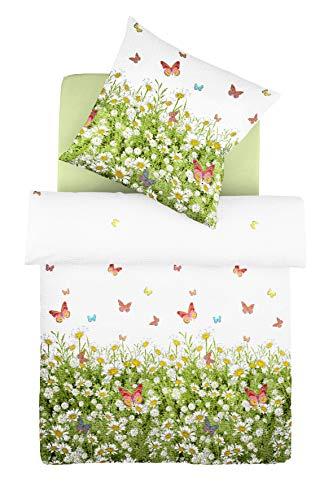 Fleuresse Donna, Seersucker-Bettwäsche-Set, frühlingshafte Blumenwiese, Farbe: bunt/weiß/grün, sommerliche Wohlfühl-Bettwäsche, 100 {d080e3f5e8a6a4c61b0919166b75ec9b64b9d4466cf0154cae96b964efd4d1f6} Baumwolle, Größe 135x200 cm inkl. 1 x 80x80 Kissen