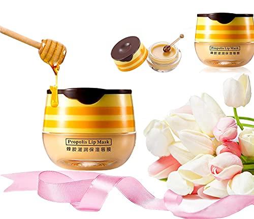 Bee Balm Bálsamo Labial Honey Pot, Máscara De Labios Hidratante Con Propóleo Miel Bálsamo Labial Nutritivo, Máscara Para Dormir De Labios, Restaurar, Hidratar Y Rellenar (2pcs)