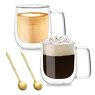 Double Walled Glass Coffee Mugs, Insulated Glass Cup with Large Handle, Large Espresso Latte Cappuccino or Tea Cup 12 Oz, Clear Mugs for Iced Tea, Set of 2