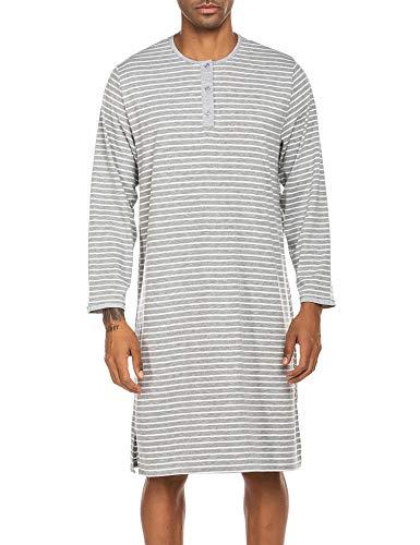 Ekouaer Sleepwear Nightshirts Mens Long Sleeve Round Neck Sleeping Lightweight Soft Night Gown (Grey, Medium)