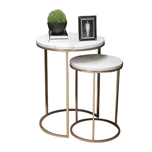 H-CAR Tavolino da caffè 2 Set di tavolino Rotondo in Marmo Tavolino Moderno in Ferro Divano angolare Tavolino Nordico per Soggiorno Camera da Letto Home Office (Colore: Oro)