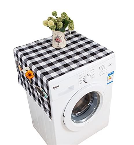 Ammsochy Washing Machine Cover Dust Oil Proof Dryer Top Loader Cloth with Side Storage Pockets Cotton Linen Kitchen Refrigerator Appliance Protector (Black-White grids)