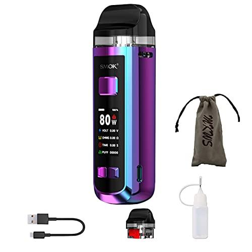 Starter set sigaretta elettronica 80W, starter set Authentic SMOK RPM 2 con grande schermo, kit vape batteria 2000mah, no nicotina, no tabacco (Prisma arcobaleno)