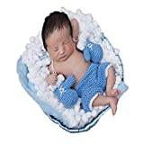 Bebé conjunto de guantes de boxeo de ganchillo hecho a mano de punto recién nacido Fotografía Prop Pantalones Trajes (Color : Sky-blue, Size : 0-3M)