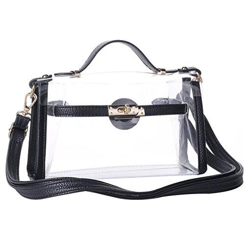 Yocatech Transparent Crossbody Bags Messenger Bags For Women NFL Stadium Approved (Black)