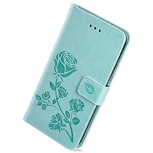 Herbests Kompatibel mit Samsung Galaxy S10e Handy Schutzhülle Leder Hülle Flip Case Cover Klapphülle Rose Blumen Muster Bookstyle Tasche Wallet Handytasche Magnetisch Kartenfach Ständer,Grün