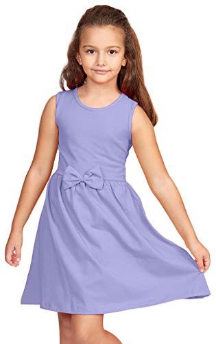 CAOMP Girls Casual Sleeveless Swing Dress, Organic Cotton, Spandex, Scoop Neck, Tagless, 7-8, Lavender