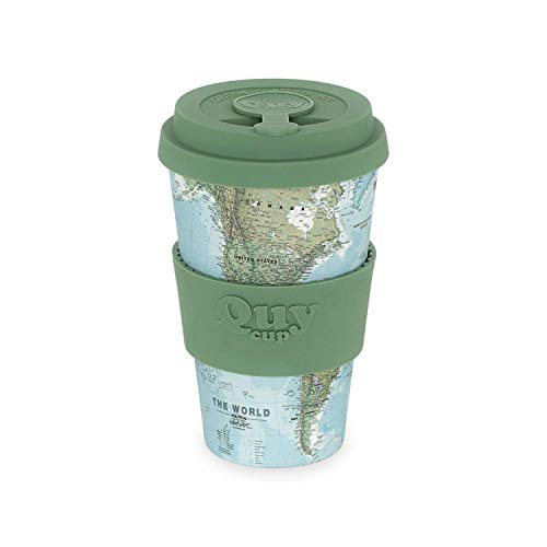 QUY CUP. Map. Kaffeebecher to Go, Travel Mug, Bamboo Cup als Mehrweg Tasse für unterwegs, Coffee to go Becher, nachhaltiger Becher mit Deckel und Silikonmanschette, 400ml