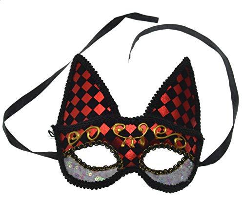 VENTURA TRADING MX16 Ojos de Gato Mujer Gato Máscara de Gato Máscara de la Mascarada Mascarilla Veneciana Pluma Decoración Mujer Mascarada Disfraz Mardi Gras Fiesta Pelota Paseo