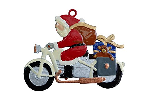 Zinngeschenke Nikloaus auf Motorrad beidseitig, sehr aufwendig von Hand bemalt (HxB) 4,7 x 5,6 cm, als Zinnfigur, Baumbehang, Weihnachtsanhänger, weihnachtlicher Zierschmuck