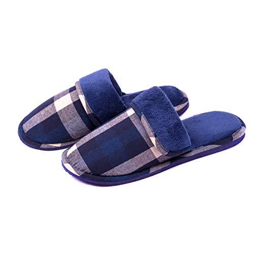 TWINS Fashion « Moreno » Zapatillas de casa Hombre Invierno Interior cómodo cálido Suela Antideslizante Pantuflas Mulas Suaves sin Ruido - Azul Cuadros 42/43