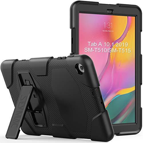 SEYMAC Schutzhülle für Galaxy Tab A 10.1 2019 (SM-T510/SM-T515), Galaxy Tab A 10.1, strapazierfähig, stoßfest, robuste Schutzhülle mit stabilem Ständer für Galaxy Tablet 10,1 (schwarz)