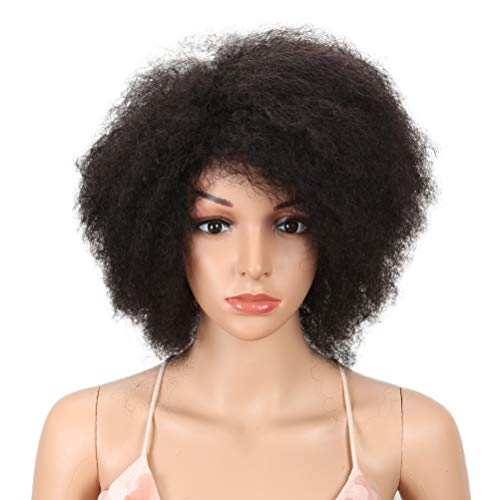 Style Icon Afro 14' Short Curly Wigs with 100% Brazilian Hair (Fluffy Tight Curls, Natural Black) - Afro Wigs for Black Women - Human Hair Wigs - Short Wigs Capless Wigs - Afro Wig (14', 1B)