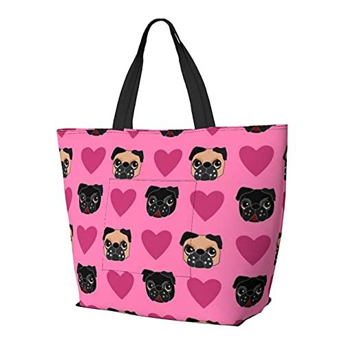 Pug Love - Bolso de hombro multifuncional de gran capacidad, bolso de la tableta, ligera, bolsa de trabajo, bolsa de viaje, bolsa de playa para mujer