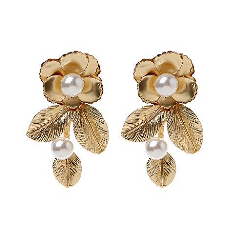 Njuyd - Pendientes de moda de lujo en tono dorado con perlas barrocas y hojas de flores reales para boda