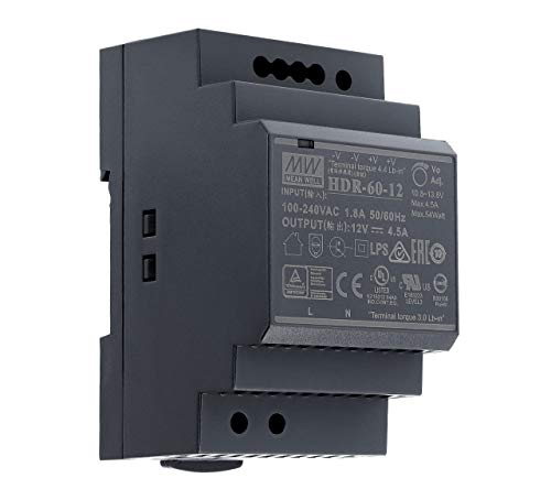 12 VDC | 4,5 A | 54Watt | Mean Well HDR-60-12 Hutschienen-Netzteil DIN-Rail