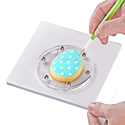 Cookie Decorating Turntable,Kasmoire Cake Sugar icing Cookie Decorating Supplies Tools,With Anti-Slip Silicone Mat Easy Control and Convenient,5.7 x 5.7 inch,Thicker,Acrylic,Square