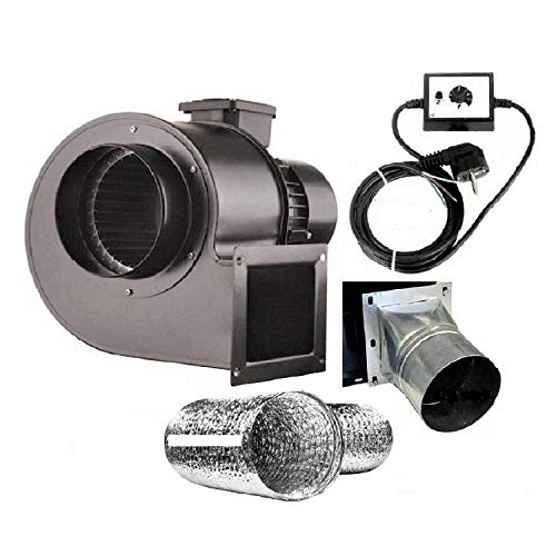 Uzman-Versand OBR-200M - Ventilador radial con regulador de velocidad, brida y tubo flexible de aluminio
