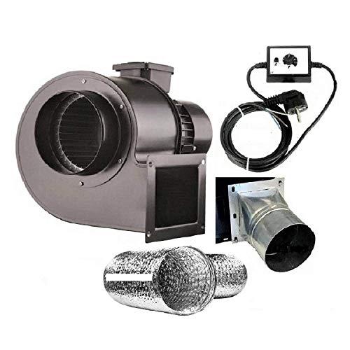 Uzman-Versand OBR-200M Radialgebläse mit Drehzahlregler, Flansch und ALU Flexrohr, Radial Zentrifugalventilator Saugventilator Radiallüfter Ventilator Gebläse Lüfter Radialventilator