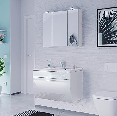 EINFACH GUTE MÖBEL Mueble de baño Salona de 2 piezas | lavabo de 70 cm + armario con espejo LED | blanco brillante