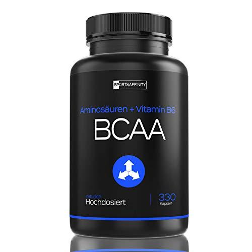 BCAA + Vitamin B6 Komplex – L-Leucin, L-Valin, L-Isoleucin (Amino Acids = BCAAs) Essentielle Aminosäuren 2:1:1 Verhältnis – aus Pulver, hergestellt in Deutschland - 330 Kapseln