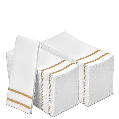 FETE Decorative Hand Towels, Gold Design 200 Disposable Linen-Feel Guest Towels – Formal Dinner, Anniversary, Wedding Napkins for Tables, and Restrooms - 8.5x4-Inches Folded 12x16.5-inches Unfolded,