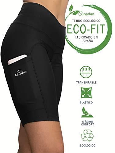 Ginadan Eco-Fit Pocket, Bermuda Ecológico con Bolsillo Integrado, Mujer, Negro, 2275-17-002-M