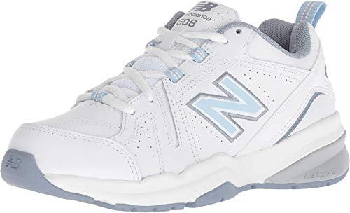 New Balance Women's 608 V5 Casual Comfort Cross Trainer, White/Light Blue, 7 W US