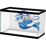 Anime Fish Tank Background Poster Manga Cartoon Style Character of a Pisces Girl Horoscope Zodiac Themed Avatar PVC Adhesive Decor Paper Cling Decals Poster Blue and White L24 X H12 Inch