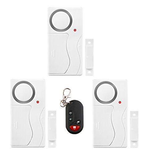 3 Stück Tür Fensteralarm Alarmanlage Sicherheit System mit FUNK Fernbedienung und Magnetsensor