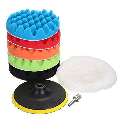 MATCC 7Pcs 6inch Polishing Pads Buffing Wheel for Drill Woolen Polishing Waxing Buffing Pads Car Polisher Kits Backing pad with M14 Drill Adapter