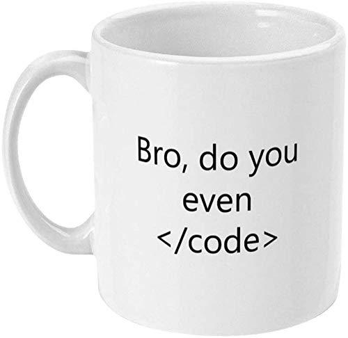 Taza de codificador Bro Do You Even Code Programador de computadora Taza de café Programación de codificador Codificación de regalo Nerd Geek Programa de computadora Taza de café