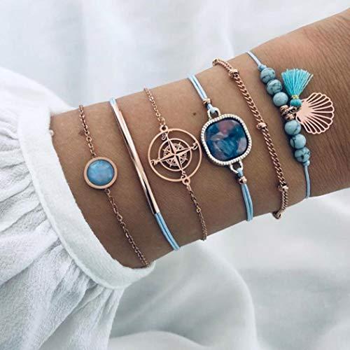 Yean Juego de 6 pulseras de cuentas de cristal y piedras de color dorado turquesa para las mujeres y las niñas