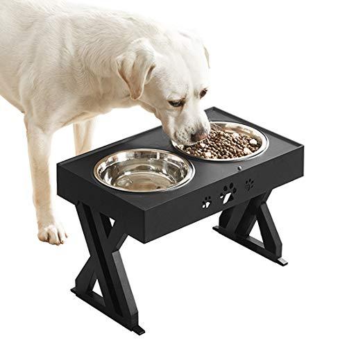 Idepet Erhöhte Hundenapf,Hundenäpfe auf Ständern, höhenverstellbare Hundenäpfe mit 2 Edelstahlschalen Anti-Sprung-Ständer für erhöhte Hundefütterungsstationen für großen mittelgroßen kleinen Hunde