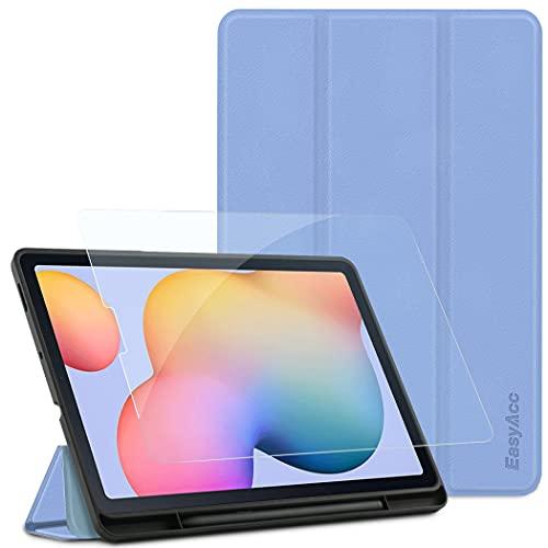 EasyAcc Funda compatible con Samsung Galaxy Tab S6 Lite 2020 con cristal blindado, ultrafina, con función atril, piel sintética, para Tab S6 Lite 10,4 pulgadas SM-P610N/P615N, color azul