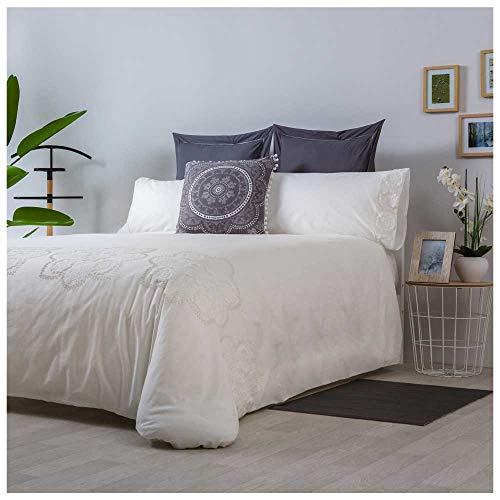 COTTON ARTean Funda Nordica Bordada CIBUR Cama de 150 PERCAL ALGODÓN 100%. Color Blanco.