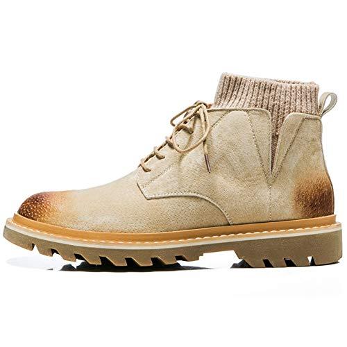 CAIFENG Calcetines con cuello y tobillo para hombre, botas de trabajo con cordones de piel auténtica, punta redonda, estilo bruñido, suela antideslizante (color: caqui, talla: 40 EU)