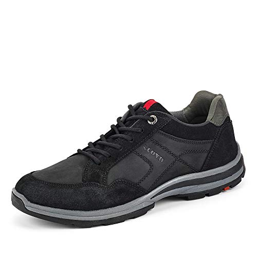LLOYD Herren Low-Top Sneaker EFRAT, Männer Sneaker,Variofootbed, strassenschuh schnürer schnürschuh sportschuh robust,Black/Asphalt,8.5 UK / 42.5 EU
