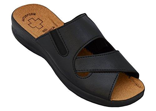 BeComfy Damen Pantolette Arbeitsschuhe Medizinische Schuhe Hausschuhe Sandalen Komfort Kork Hausschuhe Arbeit Leicht und Bequem mit Klettverschluss (41, 3517 Schwarz)