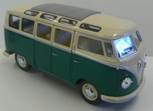 Kinsmart 1/24 Scale Diecast 1962 Volkswagen Classical Bus in Color Green with White Top