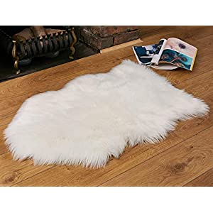 Faux Fur Fluffy Sheepskin Rug for Home Decor – Couch/Chair Covers Furry Area Rug for Living Room/Bedroom Decor – White (2×3 Feet)