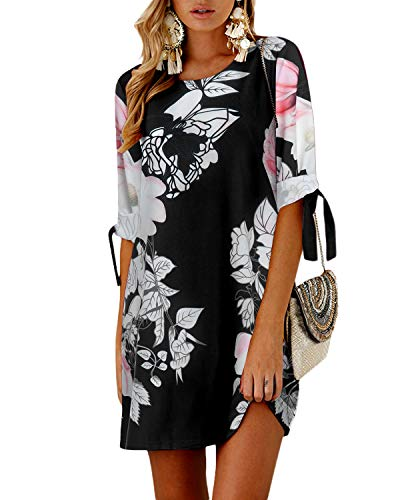 YOINS Summer Dresses for Women Floral Print Half Sleeves T Shirts Solid Crew Neck Tunics Self-tie Blouses Mini Dresses Floral -Black 02 L