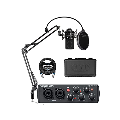 PreSonus AudioBox USB 96 25th Anniversary Audio Interface for Windows and Mac Bundle with MXL 990 Cardioid Condenser Microphone (Black), Blucoil Boom Arm Plus Pop Filter, and 10-FT Balanced XLR Cable