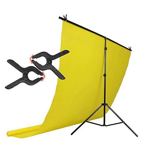 T-Ständer Background Support Kit Kompakt/tragbar Verstellbarer Stativständer Querträger 2X Tigerklemmen Perfekt für Videos, Studiofotografie 2x2m 6,5x6,5 Zoll 1 Jahr Garantie von Hakutatz