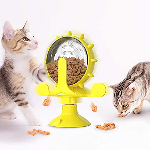 LEERFEI Cat and Dog Educational Interactive Toy Puzzle, Slow Food Dispenser Toy, 360° Rotating Windmill Snack Dispenser, Multi-Functional Fun Interactive pet Toy, Kitten IQ Auxiliary Toy