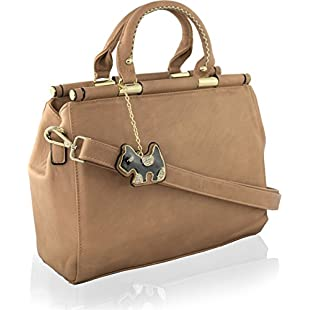 Customer reviews KukuBird DOG Chain Tag Designer Plain Pattern Faux Leather Boutique Totes Handbag with Glitter - TAUPE:Maskedking