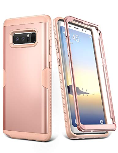 YOUMAKER Galaxy Note 8 Case, Rose Gold Full Body Heavy Duty Protection Shockproof Slim Fit Case Cover for Samsung Galaxy Note 8 (2017 Release) Without Built-in Screen Protector (Rose Gold/Pink)